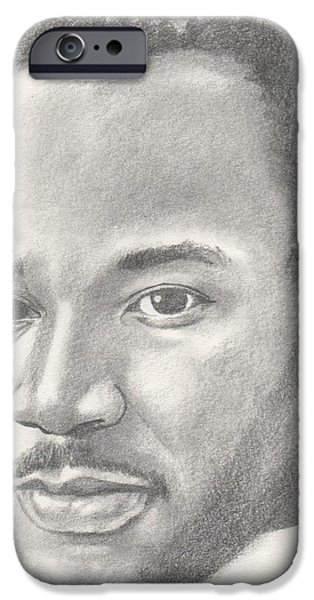 Jesus Drawings iPhone Cases - Martin Luther King jr iPhone Case by Michel Kress
