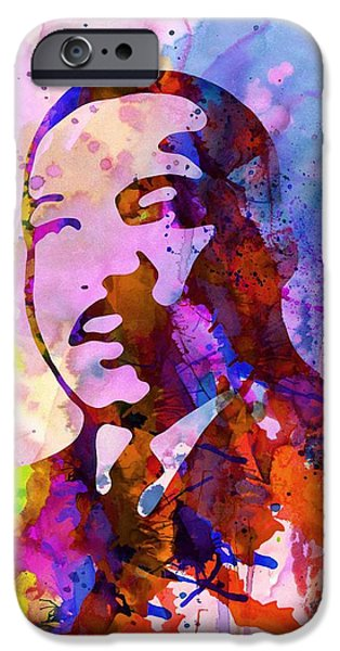 Liberation iPhone Cases - Martin Luther King Jr Watercolor iPhone Case by Naxart Studio