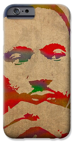 Martin Luther King Jr Watercolor Portrait on Worn Distressed Canvas iPhone Case by Design Turnpike