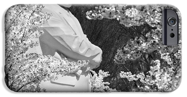 Memorial Digital iPhone Cases - Martin Luther King Memorial through the Blossoms iPhone Case by Mike McGlothlen