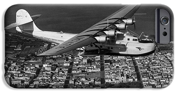 United Airlines Passenger Plane iPhone Cases - Martin M-130 China Clipper flying over downtown San Francisco iPhone Case by Wernher Krutein