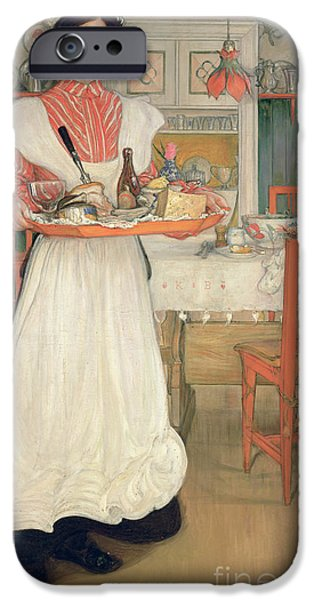 Apron iPhone Cases - Martina Carrying Breakfast on a Tray iPhone Case by Carl Larsson