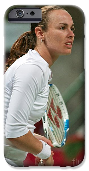 Wta iPhone Cases - Martina Hingis in Doha iPhone Case by Paul Cowan