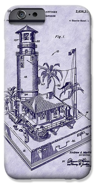 Lighthouse iPhone Cases - Martinez 1953 Lighthouse Patent Art iPhone Case by Barry Jones