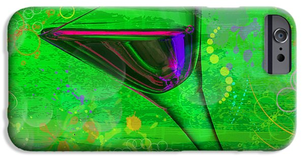 Abstract Digital Pyrography iPhone Cases - Martini Green iPhone Case by Mauro Celotti