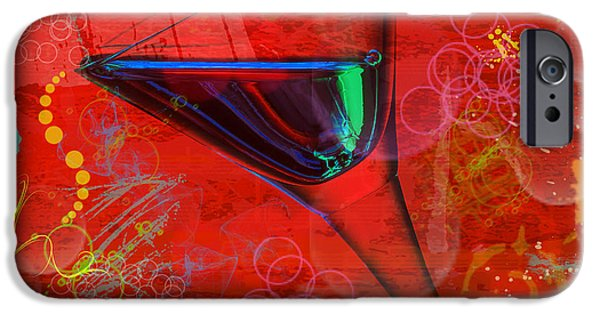 Abstract Digital Pyrography iPhone Cases - Martini Red iPhone Case by Mauro Celotti