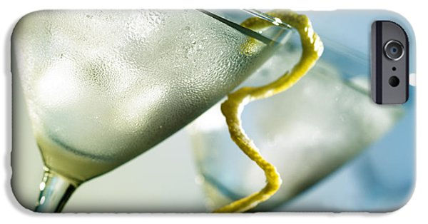 Close Up iPhone Cases - Martini with lemon peel iPhone Case by Johan Swanepoel