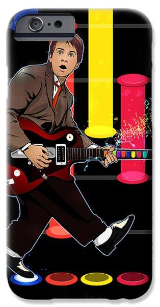 Dr. J iPhone Cases - Marty McFly plays Guitar Hero iPhone Case by Akyanyme