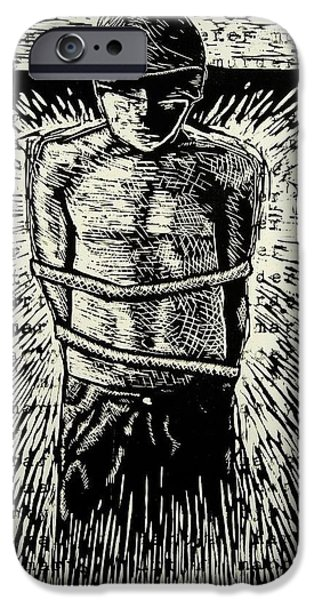Printmaking Reliefs iPhone Cases - Martyr murderer iPhone Case by David Honaker
