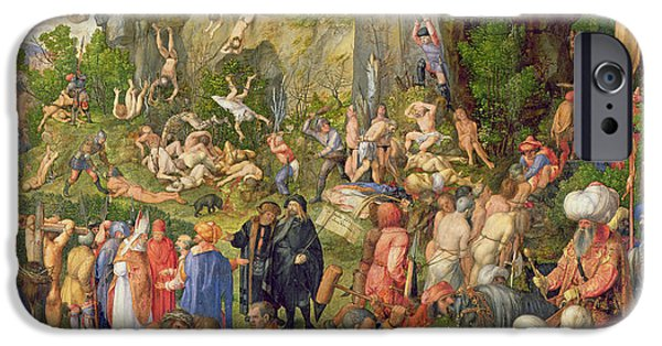 Genocides iPhone Cases - Martyrdom Of The Ten Thousand, 1508 Oil On Wood Transferred To Canvas iPhone Case by Albrecht Dürer or Duerer