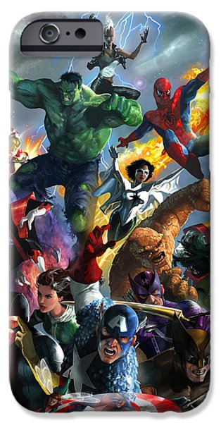 Man iPhone Cases - Marvel Comics Secret Wars iPhone Case by Ryan Barger