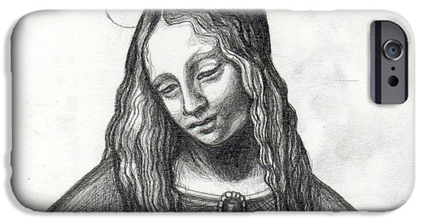 Spiritual Portrait Of Woman iPhone Cases - Mary After DaVinci iPhone Case by Genevieve Esson