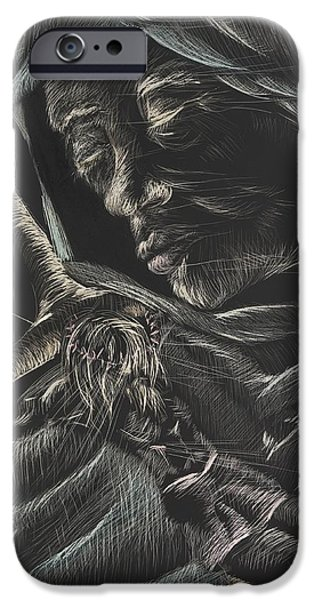 Michelle Drawings iPhone Cases - Mary-Aged iPhone Case by Michelle Miller