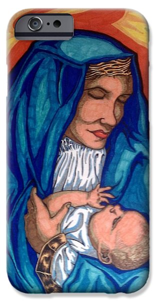 Jesus Drawings iPhone Cases - Mary and Baby Jesus iPhone Case by Michael Toth