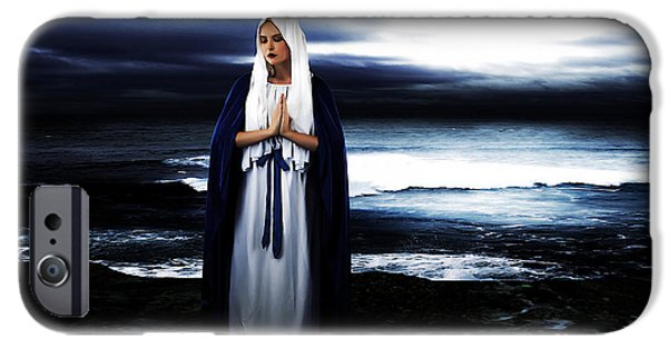 Roman Catholic iPhone Cases - Mary by the Sea iPhone Case by Cinema Photography