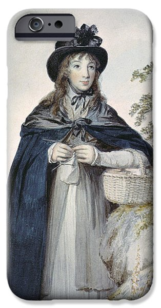 Basket iPhone Cases - Mary Cunliffe C.1783-1838 iPhone Case by Joseph Allen