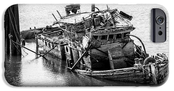 Historic Schooner Photographs iPhone Cases - Mary D Hume Shipwreck - Rogue River Oregon iPhone Case by Gary Whitton