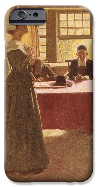 Arrest iPhone Cases - Mary Dyer Brought Before Governor Endicott, Illustration From The Hanging Of Mary Dyer By Basil iPhone Case by Howard Pyle