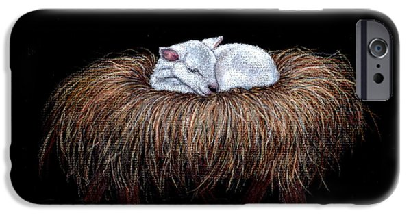 Christmas Greeting iPhone Cases - Mary Had a Little Lamb iPhone Case by Dee Dee  Whittle