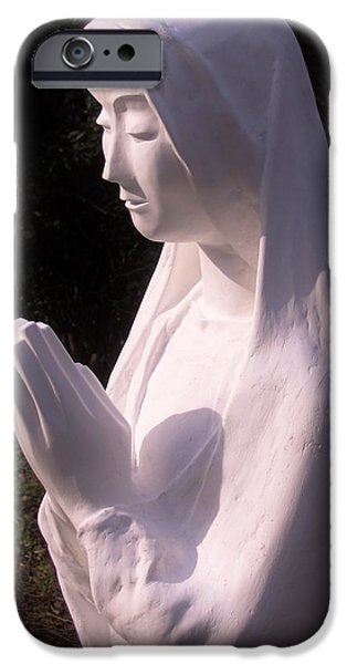 Jesus Sculptures iPhone Cases - Mary in Prayer 2009 iPhone Case by Karl Leonhardtsberger