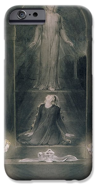 Sepulchre Drawings iPhone Cases - Mary Magdalene at the Sepulchre iPhone Case by William Blake
