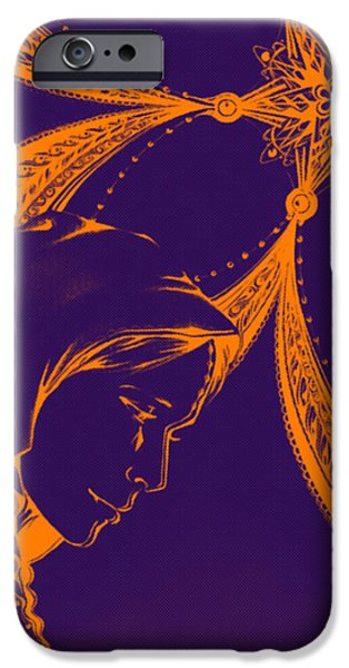 Jesus Drawings iPhone Cases - Mary-Purple iPhone Case by Andrea Carroll