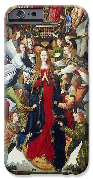 Lute iPhone Cases - Mary, Queen Of Heaven, C. 1485- 1500 Oil On Panel iPhone Case by Master of the Legend of St. Lucy