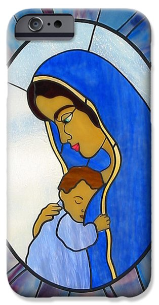 Print Glass iPhone Cases - Blessed Virgin Mary iPhone Case by Suzanne Tremblay