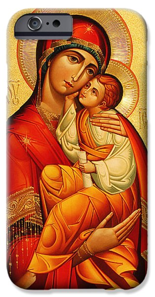 Mosaic iPhone Cases - Mary The God Bearer iPhone Case by Philip Ralley