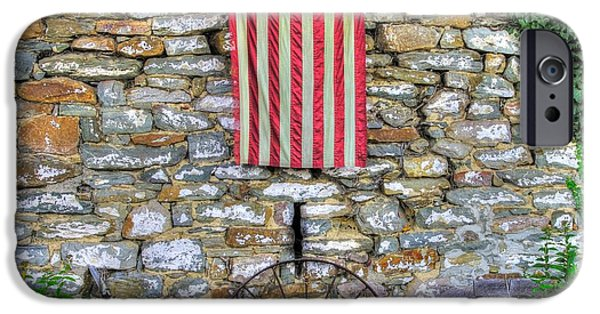David iPhone Cases - Maryland County Roads - Stone Outbuilding With Betsy Ross American Flag - Thurmont Frederick County iPhone Case by Michael Mazaika