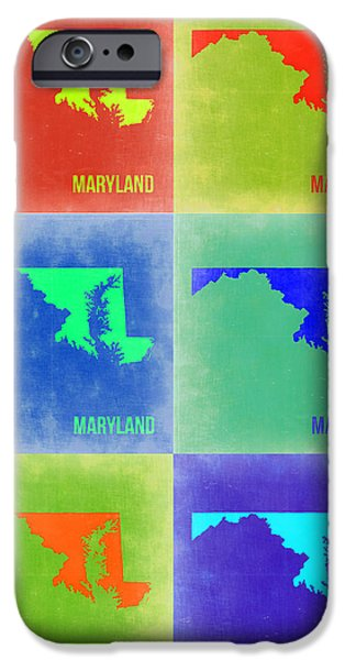 World Map Poster Digital Art iPhone Cases - Maryland Pop Art Map 2 iPhone Case by Naxart Studio