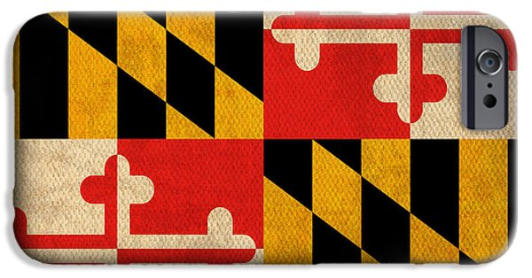 Maryland iPhone Cases - Maryland State Flag Art on Worn Canvas iPhone Case by Design Turnpike