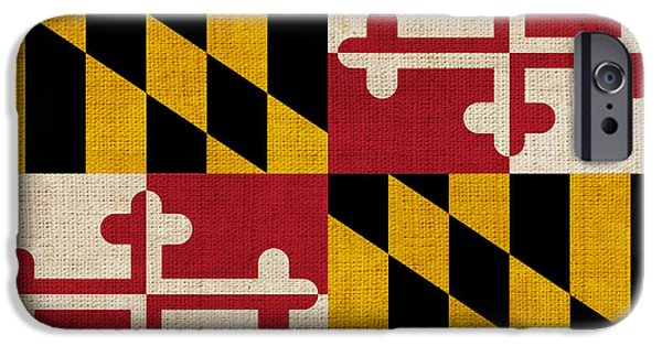 Washington Digital Art iPhone Cases - Maryland state flag iPhone Case by Pixel Chimp