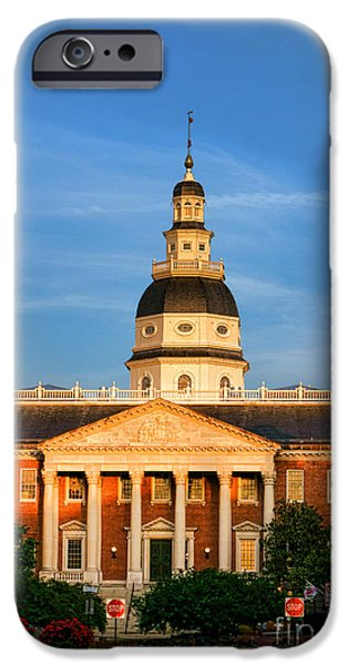 Annapolis iPhone Cases - Maryland State House at Sunset iPhone Case by Olivier Le Queinec