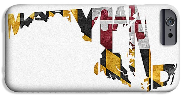 Original Watercolor iPhone Cases - Maryland Typographic Map Flag iPhone Case by Ayse Deniz