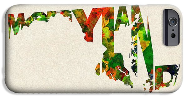 Abstract Map Digital Art iPhone Cases - Maryland Typographic Watercolor Map iPhone Case by Ayse Deniz