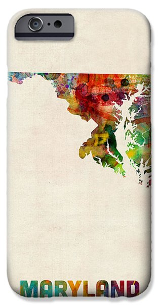 Geography iPhone Cases - Maryland Watercolor Map iPhone Case by Michael Tompsett