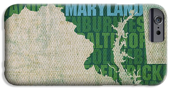 Words On Art iPhone Cases - Maryland Word Art State Map on Canvas iPhone Case by Design Turnpike