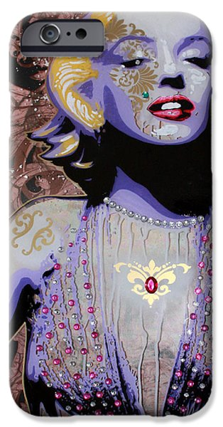 Lips Mixed Media iPhone Cases - Marylin iPhone Case by Gary Kroman