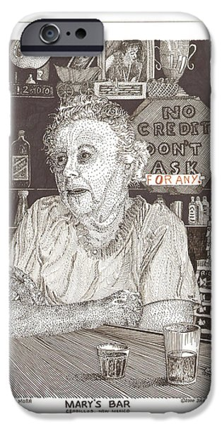 Owner Drawings iPhone Cases - Marys Bar Cerrillos New Mexico iPhone Case by Jack Pumphrey