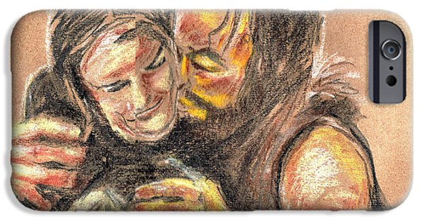 Mixed Media Pastels iPhone Cases - Marys Kiss iPhone Case by Seth Weaver