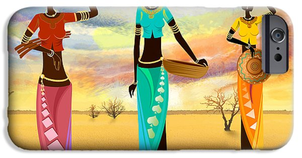 Village Mixed Media iPhone Cases - Masai Women Quest For Grains iPhone Case by Bedros Awak
