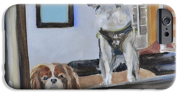 Puppies iPhone Cases - Mascots of The Inn iPhone Case by Donna Tuten