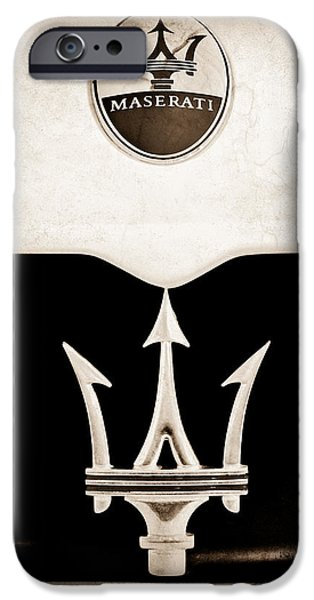 2005 iPhone Cases - Maserati 2005 MC12 Grille Emblem iPhone Case by Jill Reger