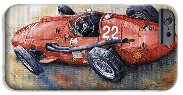 Classic Racing Car iPhone Cases - Maserati 250 F 1957  iPhone Case by Yuriy  Shevchuk