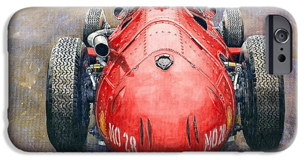 Papers iPhone Cases - Maserati 250F Back View iPhone Case by Yuriy Shevchuk