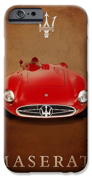 Vintage Car iPhone Cases - Maserati 300 S iPhone Case by Mark Rogan