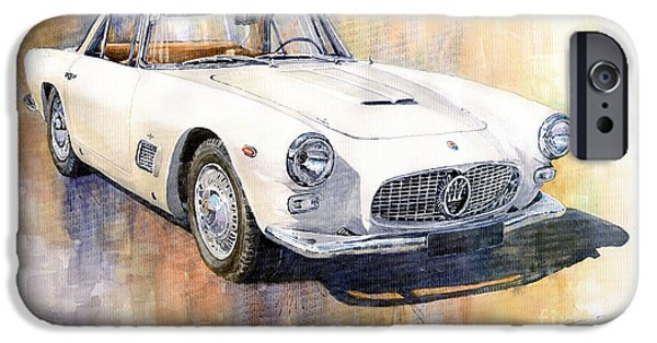 Vintage Cars iPhone Cases - Maserati 3500GT Coupe iPhone Case by Yuriy  Shevchuk