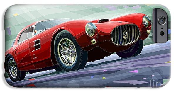 Automotive Mixed Media iPhone Cases - Maserati A6GCS Berlinetta by Pininfarina 1954 iPhone Case by Yuriy Shevchuk