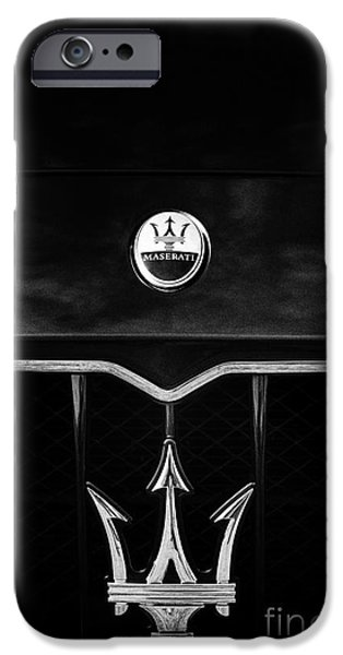 Saloons iPhone Cases - Maserati Quattroporte Monochrome iPhone Case by Tim Gainey